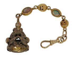 Antieke 14 karaats gouden chatelaine met opaal en hanger