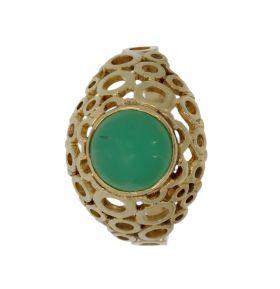 Klassieke 14 karaats gouden opengewerkte ring Chrysopraas