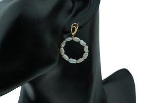 18 karaats gouden design oorbellen met rijstparels