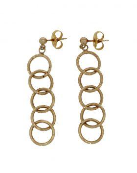 14 karaats gouden design oorbellen - getordeerde cirkels -