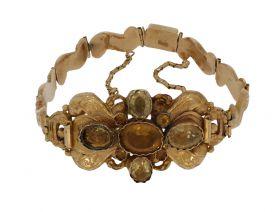 Antieke 14 karaats gouden armband grave decor en Citrien