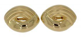 14 karaats gouden design oorclips met gematteerde bewerking