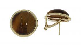Klassieke 14 karaats gouden oorstekers Tijgeroog