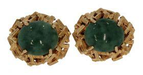 Robuust set 14 karaats gouden Vintage oorclips met Jade