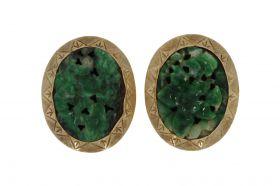 Fraai set 14 karaats gouden Vintage oorclips Jade