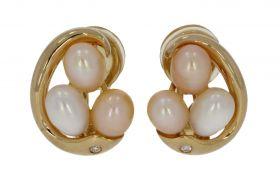 14 karaats gouden design clip oorbellen met parels en diamant
