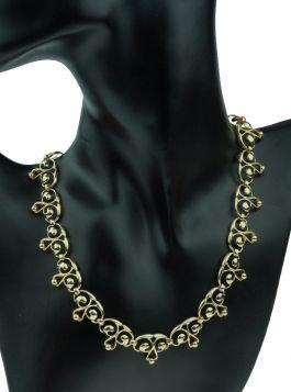 14 karaats gouden Retro collier met ajourbewerkte schakels