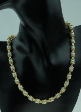 Exclusief 14 karaats gouden design collier met parels