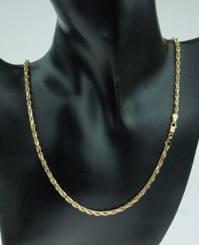 14 karaats bicolor gouden koordschakel ketting -nieuwstaat-