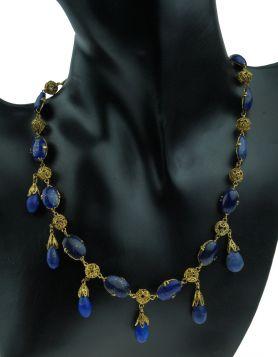 Antiek 14 karaats gouden collier met Lapis Lazuli filgrein bewerkt