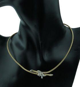 14 karaats gouden design collier bezet met 19 diamanten