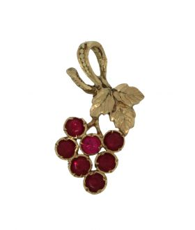 14 karaats gouden druiventros ketting hanger spinel