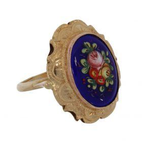 14 karaats gouden klassieke ring met emaille bloemen