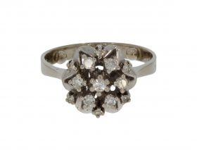 14 karaats witgouden entourage ring 13 diamanten