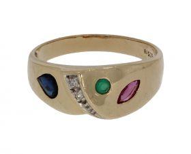 14 karaats gouden ring 2 diamanten saffier robijn smaragd