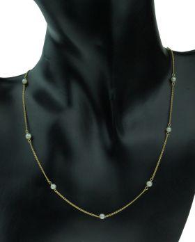 14 karaats gouden gourmet ketting met 9 parels