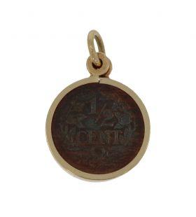 14 karaats gouden ketting hanger met halve cent 1934