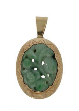 14 karaats gouden ketting hanger met gestoken Jade