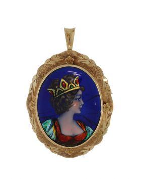 14 karaats gouden Limoges hanger broche met blauw emaille