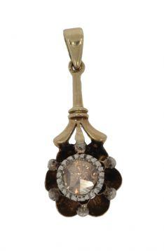 Antieke gouden met zilveren hanger met solitair roosdiamant
