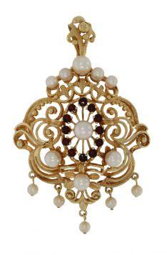 Zeldzame 14 karaats gouden ketting hanger granaat en parels