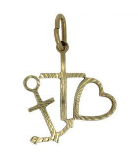 14 karaats gouden Geloof Hoop Liefde ketting hanger