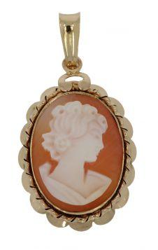 14 karaats gouden Vintage schelpcamee ketting hanger