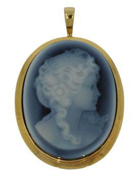 14 karaats gouden hanger met blauwe camee vrouwportret