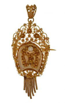 14 karaats gouden antieke hanger broche streeksieraad met parel