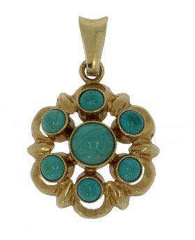 14 karaats gouden hanger met een rozet van 7 Turkoois parels