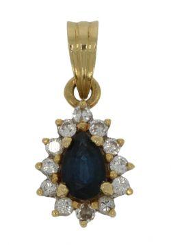 18 karaats gouden ketting hanger saffier en 12 diamanten