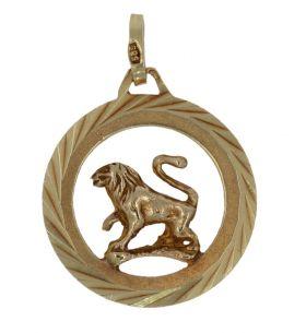 Grote 14 karaats gouden ketting hanger leeuw