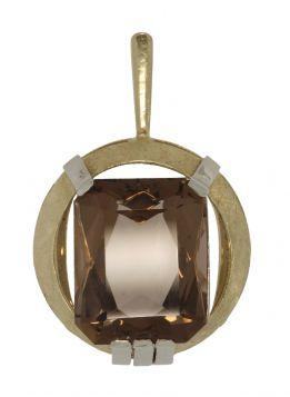 Grote 14 karaats bicolor gouden ketting hanger rookkwarts