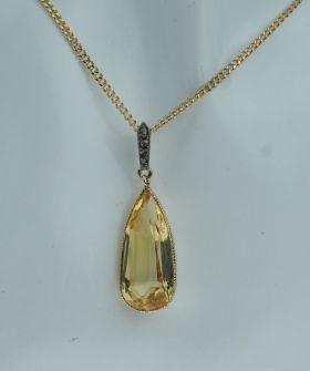 Antieke 14 karaats gouden hanger Citrien en diamanten