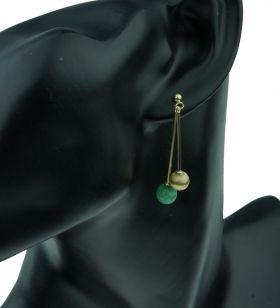 14 karaats gouden Vintage bol oorbellen met Amazoniet