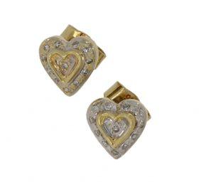 14 karaats gouden hart oorstekers met diamanten