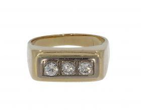 14 karaats gouden massieve Vintage heren ring 3 diamanten
