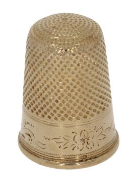 14 karaats gouden vingerhoedje met fraai decor