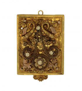 Unieke 14 karaats gouden antieke hanger broche Hoorn des overvloeds