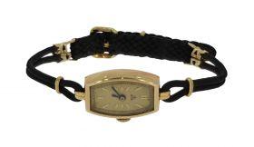 Antiek gouden horloge aan stoffen koordband