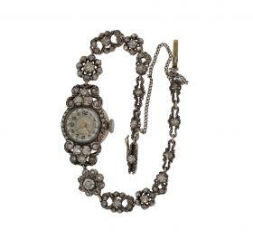 Antieke Victoriaanse gouden en zilveren horloge met 89 roosdiamanten