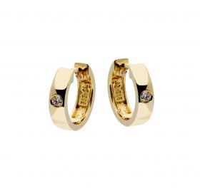 Brede 14 karaats gouden klapcreolen bezet met diamant
