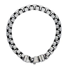 Zilveren heren schakelarmband - polijsting mat
