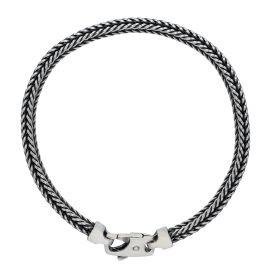 Zilveren schakelarmband met karabijnslot