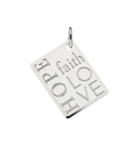 Zilveren graveerplaatje Faith - Hope - Love