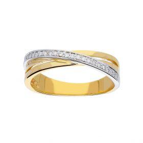 14 karaats bicolor gouden dames diamanten ring