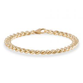 Brede 14 karaats gouden damesarmband - gourmetschakel
