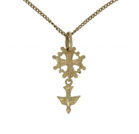 14 karaats gouden gourmet ketting met hugenoten kruis hanger