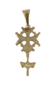 14 karaats gouden ketting hanger Hugenoten kruisje