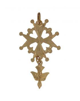 Grote 18 karaats gouden Hugenoten kruis hanger